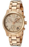 Michael Kors Womens Chronograph Rose Dial Rose Gold Tone Ion Plated Stainless Steel - Lyst