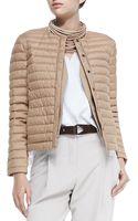 Brunello Cucinelli Puffer Jacket with Monili Placket - Lyst
