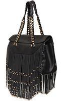 Roberto Cavalli Regina Studded Fringe Nappa Leather Bag - Lyst