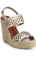 Tory Burch Perforated Metallic Leather Espadrille Wedge Sandals - Lyst