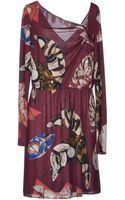 John Galliano Asymmetric Printed Jersey Short Dress - Lyst