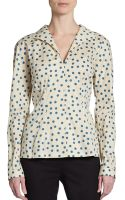 Dolce & Gabbana Stretch Cotton Polka Dot Blouse - Lyst