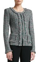 St. John Donegal Plaid Tweed Knit Jacket with Patch Pockets and Fringe - Lyst