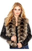 Guess Faux-leather Zip-sleeve Faux-fur Jacket - Lyst