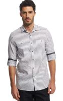 Kenneth Cole Reaction Striped Roll Tab Sleeve Shirt - Lyst