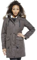 Laundry By Shelli Segal Grey Faux Fur Trim Hooded Coat - Lyst
