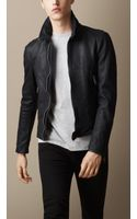 Burberry Leather Jacket with Buckled Throat Latch - Lyst