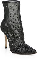 Oscar de la Renta Camille Embroidered Embellished Mesh Ankle Boots - Lyst