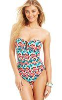 La Blanca Chevronprint Bandeau Onepiece Swimsuit - Lyst