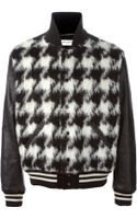 Saint Laurent Hounds Tooth Bomber Jacket - Lyst
