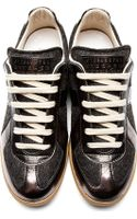 Maison Martin Margiela Grey Wool and Leather Replica Sneakers - Lyst
