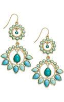 Lauren by Ralph Lauren 14k Goldplated Reconstituted Turquoise Doubledrop Chandelier Earrings - Lyst