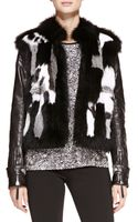 Roberto Cavalli Patchwork Fur Jacket with Leather Sleeves - Lyst