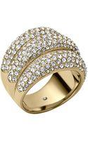 Michael Kors Goldtone Crystal Triple Stack Ring - Lyst