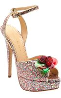 Charlotte Olympia Embellished Flower Glitter Pump - Lyst