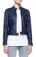 Current/Elliott Leather Frontzip Moto Jacket - Lyst