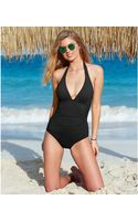 DKNY Ruched Halter One-piece Swimsuit - Lyst