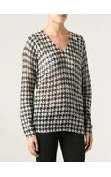 MICHAEL Michael Kors Houndstooth Intarsia Sweater - Lyst