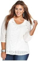 Lucky Brand Jeans Plus Size Three-quarter-sleeve Lace Top - Lyst