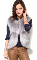 Akira Black Label Faux Fur Vest in Grey - Lyst