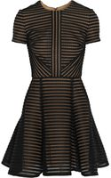 Elie Saab Striped Honeycombmesh and Brushedsatin Mini Dress - Lyst