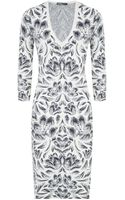 Alexander McQueen Jacquard Tulip V-Neck Pencil Dress - Lyst