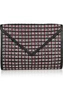 Rebecca Minkoff Owen Woven Leather Envelope Clutch - Lyst