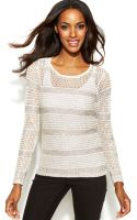 Inc International Concepts Open-knit Sequined Sweater - Lyst