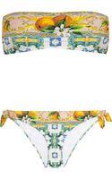 Dolce & Gabbana Printed Bandeau Bikini - Lyst