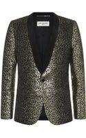 Saint Laurent Metallic Leather Tuxedo Jacket - Lyst