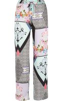 River Island White Abstract Print Slouch Trousers - Lyst