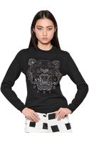 Kenzo Tiger Embroidered Cotton Sweatshirt - Lyst