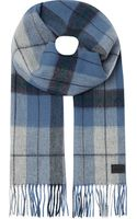 Hugo Boss Checked Scarf Blue - Lyst