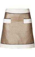 Moschino Metallic Woolsilk Blend Miniskirt - Lyst