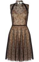 Marios Schwab Lace Dress with Flower Embellished Collar - Lyst