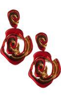 Oscar de la Renta Resin-painted Rose Clip-on Earrings - Lyst