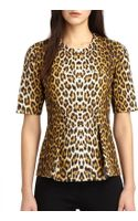 3.1 Phillip Lim Leopard-print Leather Peplum Top - Lyst