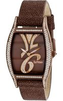 Le Vian Womens Swiss Time Diva Diamond 178 Ct Tw Brown Leather Strap 32x35mm - Lyst