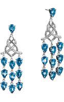 John Hardy Batu Classic Chain Silver Chandelier Earrings with London Blue Topaz - Lyst