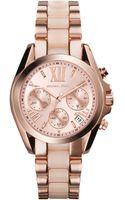 Michael Kors Womens Chronograph Mini Bradshaw Blush and Rose Gold-tone Stainless Steel Bracelet Watch 36mm - Lyst