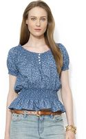 Lauren by Ralph Lauren Smocked Cotton Anchor Top - Lyst