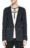 Nanette Lepore Scandal Leather-trim Tweed Jacket - Lyst
