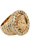 Versace Medusa Crystal Gold Plated Metal Ring - Lyst