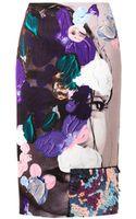MSGM Abstract-print Satin Pencil Skirt - Lyst