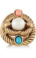 Oscar de la Renta Goldplated Faux Pearl and Cabochon Ring - Lyst