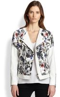 Rebecca Taylor Floral Printoverlay Leather Jacket - Lyst