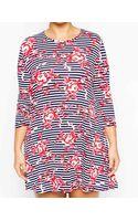 Ax Paris Plus Size Swing Dress in Stripe  Rose Print - Lyst