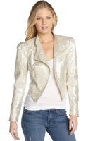 Alice + Olivia Ivory and Silver Metallic Lace Eriko Moto Jacket - Lyst