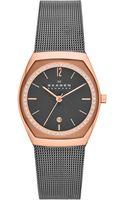 Skagen Womens Graytone Stainless Steel Mesh Bracelet Watch 37x28mm - Lyst