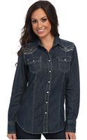Ariat Studded Denim Shirt - Lyst